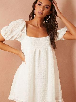 WOMEN In The Style x Lorna Luxe textured puff sleeve smock dress in white