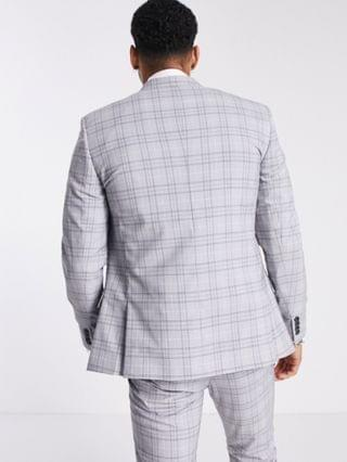 River Island skinny suit jacket in gray check