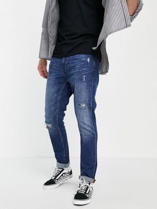 Pull&Bear slim fit jeans in dark blue with rips