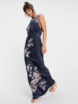 WOMEN satin midi dress with floral embroidery and cowl back