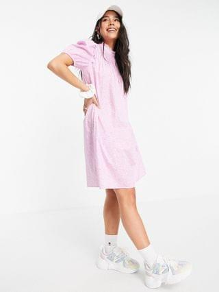 WOMEN Only smock mini dress with puff sleeves and shirred neck in pink print