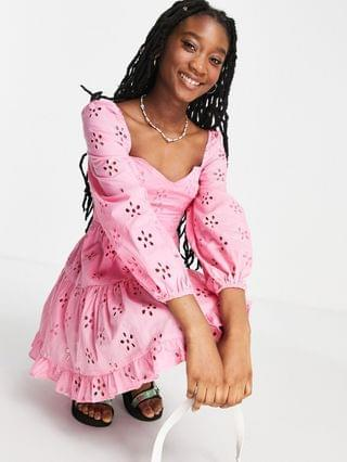 WOMEN long sleeve broderie tiered mini skater dress in pink