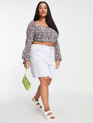 WOMEN In The Style Plus x Olivia Bowen strappy back volume sleeve crop top in multi floral print