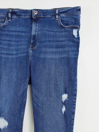WOMEN River Island Plus ripped raw hem high rise skinny jeans in mid auth blue