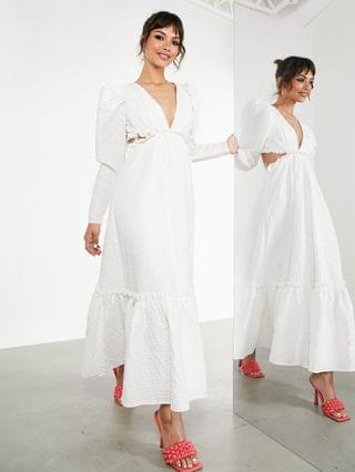 WOMEN EDITION plunge textured midi dress with strappy back in white