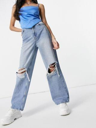 WOMEN high rise 'relaxed' dad jeans in brightwash with rips