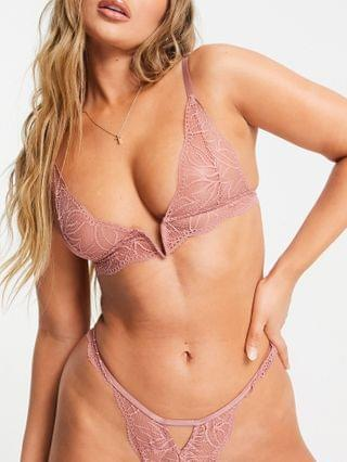 WOMEN Kinsley lace V front multi strapping triangle bra in dusky pink