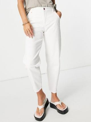 WOMEN Only troy tapered leg jeans with high waist in ecru