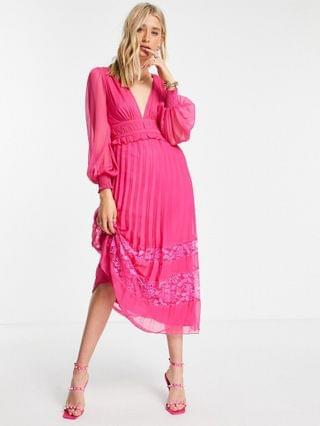 WOMEN Tall Exclusive plunge pleated midi dress with lace insert hem in hot pink