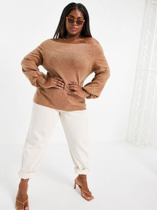WOMEN Outrageous Fortune Plus off-the-shoulder top with balloon sleeves in camel