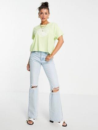 WOMEN Levi's varsity t-shirt with floral logo in green