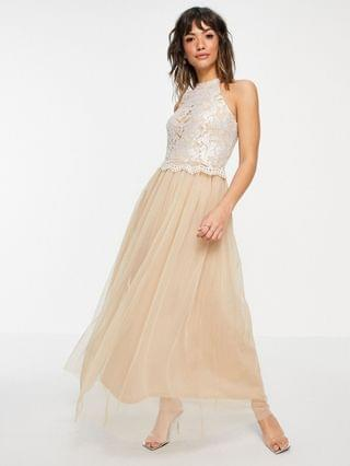 WOMEN Vila Bridal halterneck dress with sequin body and tulle skirt in champagne
