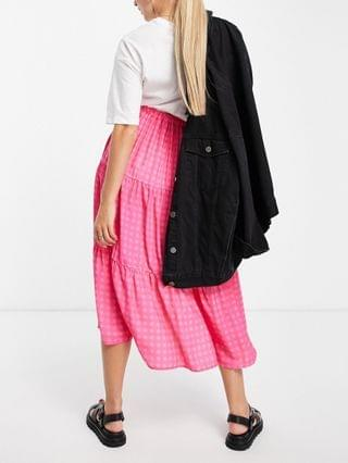 WOMEN Twisted Wunder Maternity tiered midi skirt in contrast pink check