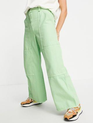 WOMEN Weekday Gritty organic cotton seam front workwear pants in mint green