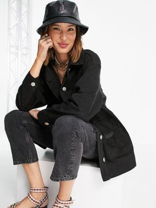 WOMEN Topshop lightweight jacket with utility pockets in black