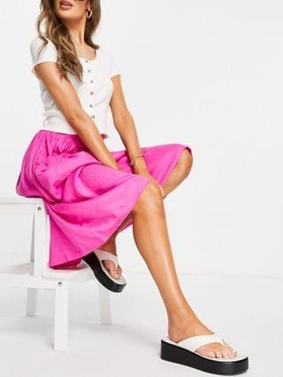 WOMEN midi skirt with pocket detail in pink