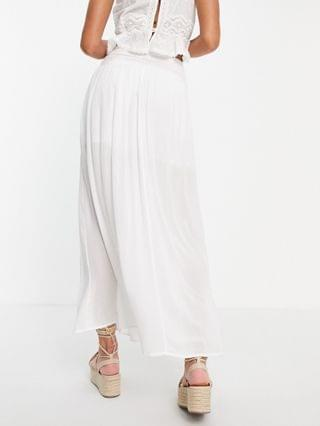 WOMEN maxi skirt in crinkle with shirred panel in white
