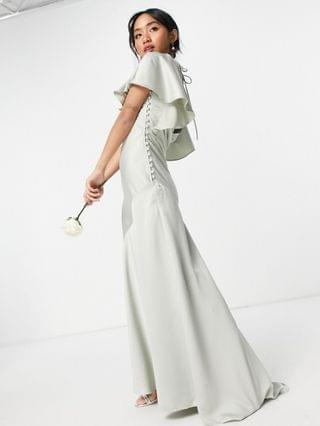 WOMEN Petite Bridesmaid flutter sleeve satin maxi dress with button side detail in olive