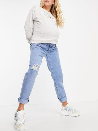 WOMEN Missguided Maternity comfort stretch jeans with thigh rip in mid blue wash