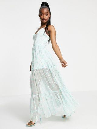 WOMEN Lace & Beads exclusive sheer overlay playing card dress in metallic mint