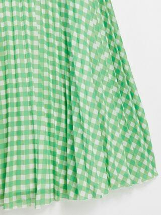 WOMEN bandeau pleated maxi dress in gingham