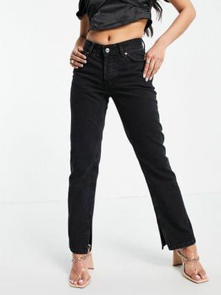 WOMEN Petite organic mid rise 90s straight leg jeans in washed black with slit hem