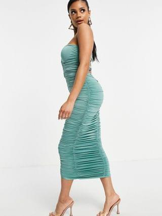 WOMEN Rare London bandeau ruched midi dress in sage