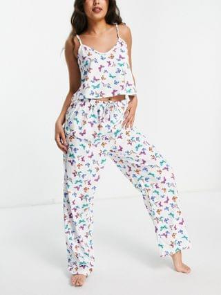 WOMEN Wednesday's Girl cami and pants pajama set in butterfly print