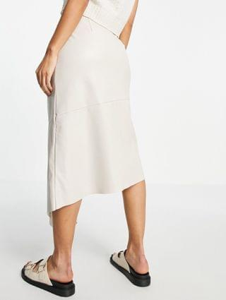 WOMEN Topshop snap-front PU midi skirt in white