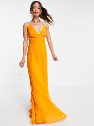 WOMEN cami wrap maxi dress with lace up back