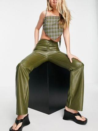 WOMEN COLLUSION faux leather 90's fit flared pants in green