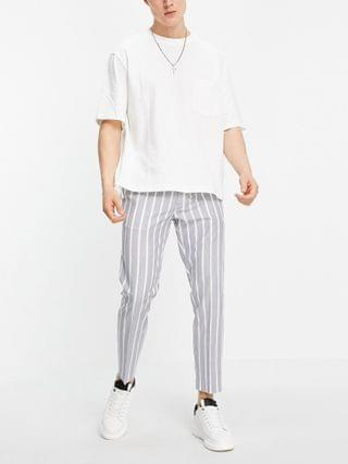 Topman skinny stripe sweat-style pants in gray and white
