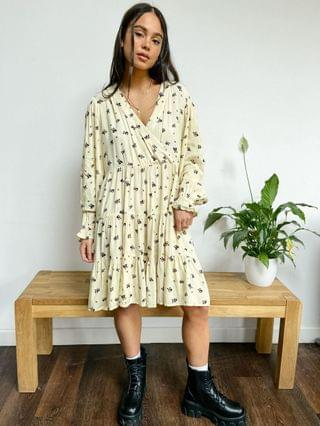 WOMEN Native Youth very oversized wrap front smock dress in panda party print