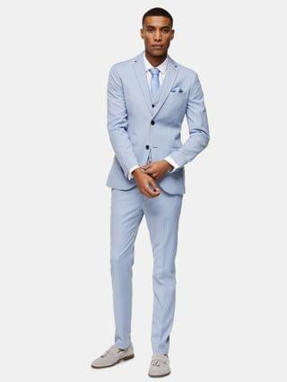 Topman skinny single breasted suit jacket with notch lapel in light blue