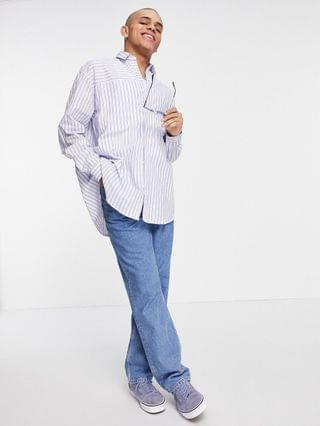 Reclaimed Vintage inspired dad fit cut about stripe shirt in blue