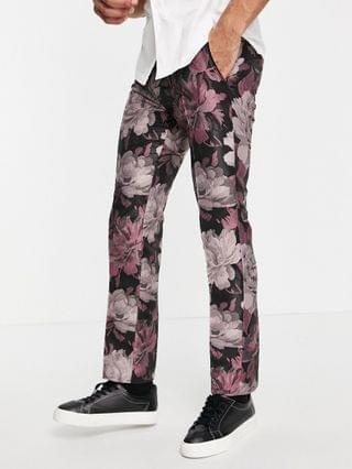 Twisted Tailor suit pants in black and pink floral jacquard