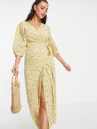 WOMEN Vila wrap dress with 3/4 balloon sleeve in yellow floral