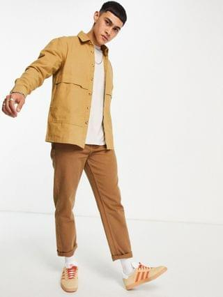 overshirt in natural canvas with cosmic back placement print