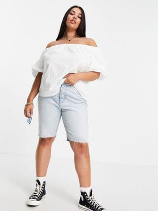 WOMEN Curve off the shoulder sun top with volume sleeves in ivory