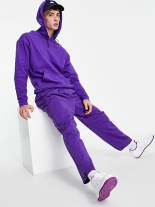 oversized hoodie in purple with toggle neck detail