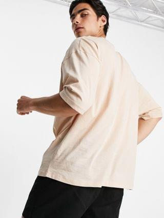MEN Actual Athleisure oversized t-shirt in sand with health and wellbeing logo chest print