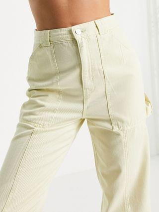 WOMEN Topshop carpenter pant with seam detailing in lime