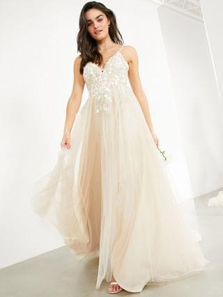 WOMEN EDITION Francesca plunge wedding dress with tonal embroidery