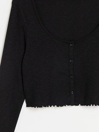 WOMEN Tall slouchy ribbed button up top in black