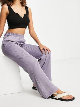 WOMEN relaxed pajama suit wide leg pant in lilac