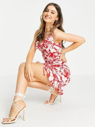 WOMEN In The Style x Jac Jossa cowl front ruched mini dress with ruffle hem in red floral print