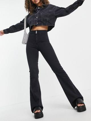 WOMEN Topshop stretch flare jeans with spoiled crystals in washed black