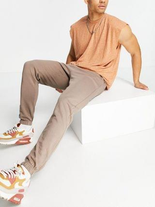 New Look washed set sweatpants in brown