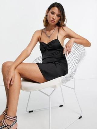 WOMEN Reclaimed Vintage inspired mini cami dress with button back in black