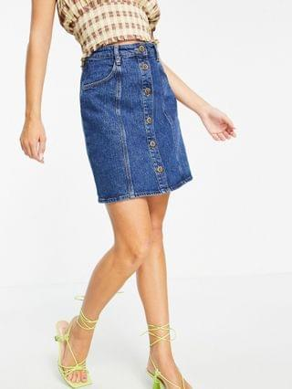 WOMEN & Other Stories organic cotton mini denim skirt with gold daisy buttons in blue
